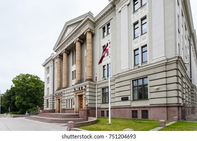 RIGA, LATVIA - SEPTEMBER 3, 2017: house of Ministry of Foreign Affairs of Latvia on Krisjana Valdemara iela in Riga city. The building was built in 1913 in neoclassical style (architect August Vite).