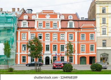 RIGA, LATVIA, September 6, 2018: Pullman hotel building in the Old Town Riga location 24 Jekaba Street.