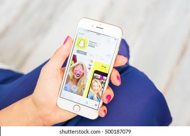 RIGA, LATVIA - SEPTEMBER 8, 2016: Snapchat app on App Store.