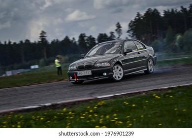 Riga LAtvia16-05-2021 Drift bmw driver drifting at road.