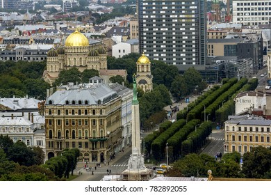 Riga .Latvia.7 September 2017.The view of the Orthodox Nativity of Christ Cathedral and Freedom monument in Riga from a height.
