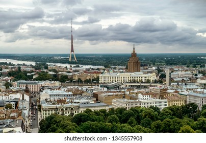 Riga .Latvia.7 September 2017.View over the rooftops of the city and TV tower in Riga from a height.