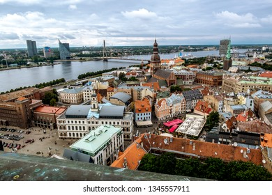 Riga .Latvia.7 September 2017.View from St. Peter Church to the Cathedral and cable-stayed bridge and Riga's old town.