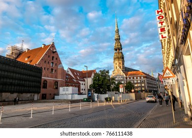 Riga .Latvia.7 September 2017.Views of streets and squares in the historic centre of Riga in Latvia