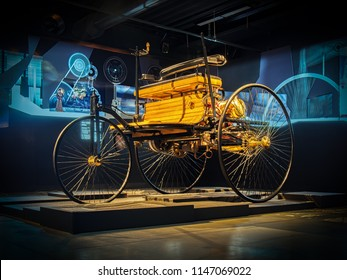 RIGA, LATVIA-APRIL 18, 2018: 1886 Benz Patent-Motorwagen (Benz patent motor car) in the Riga Motor Museum. It is widely regarded as the world's first automobile.