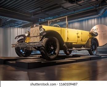 RIGA, LATVIA-APRIL 18, 2018: 1926 Fiat 503 Torpedo in the Riga Motor Museum.