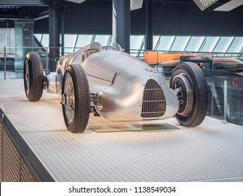 RIGA, LATVIA-APRIL 18, 2018: 1936 Auto Union V16 typ C/D in the Riga Motor Museum
