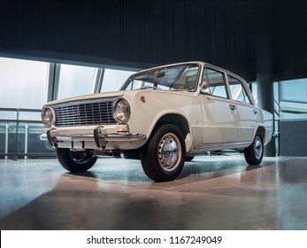 RIGA, LATVIA-APRIL 18, 2018: Soviet car 1974 VAZ 2101 Zhiguli  in the Riga Motor Museum.