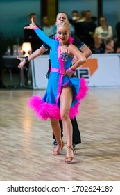 RIGA, LATVIA-DECEMBER 15, 2019: Adult Dance Couple Performs Youth Latin-American Program on the WDSF Baltic Grand Prix-2019 Championship in December 15, 2019
