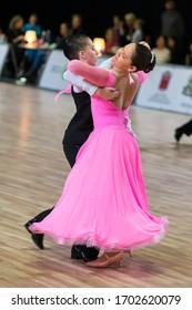 RIGA, LATVIA-DECEMBER 15, 2019:  Dance Couple Performs Juvenile European Standard Program on the WDSF Baltic Grand Prix-2019 Championship in December 15, 2019 in Riga, Latvia