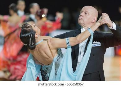 Riga, Latvia-December 17, 2016: Unidentified Professional Senior Dance couple Performs European Standard Program on the WDSF Baltic Grand Prix-2106 Championship in December 17, 2016 in Riga, Latvia.