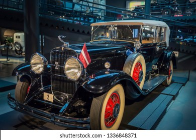 RIGA, LATVIA-February 18, 2019: 1930 Cadillac V8 Series 353 in the Riga Motor Museum. Exhibition of vintage cars
