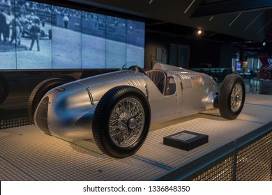RIGA, LATVIA-February 18, 2019: 1936 Auto Union V16 typ C D in the Riga Motor Museum. Exhibition of vintage cars