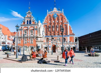 RIGA, LATVIA-JUNE 10, 2017:Town Hall Square - house of the Blackheads  in old town of Riga