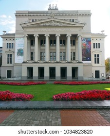 RIGA, LATVIA-SEPT. 27: The National Opera House and gardens are seen in Riga, Latvia, Europe on September 27, 2015.