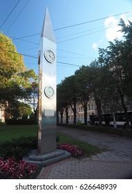 RIGA, LATVIA-SEPTEMBER 27: The Kobe Friendship Clock, a gift from Japan to Latvia is seen in Riga, Latvia, Europe on September 27, 2016.