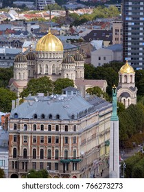 RIGA LAVTIA SEPTEMBER 18 2015: Riga Nativity of Christ Orthodox Cathedral was built by Nikolai Chagin in a Neo Byzantine style, during the period when the country was part of the Russian Empire.