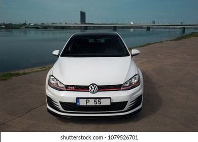 Riga, LV - APR 29, 2018: Volkswagen Golf GTi mk7 2017 near river