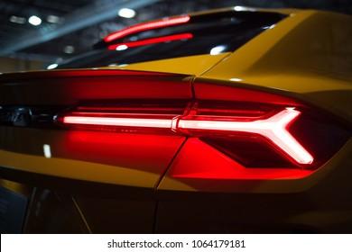 Riga, LV - APR 8, 2018: Lamborghini Urus taillamp