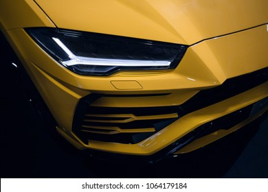 Riga, LV - APR 8, 2018: Lamborghini Urus led headlight