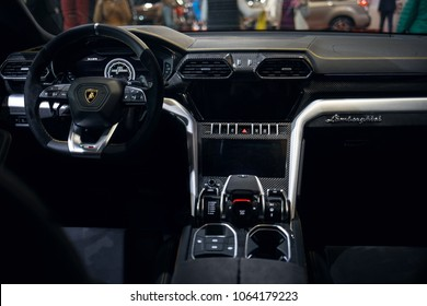 Riga, LV - APR 8, 2018: Lamborghini Urus interior view from back seats