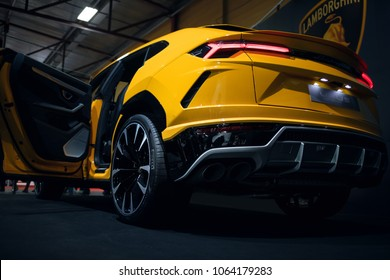Riga, LV - APR 8, 2018: Lamborghini Urus on car show back