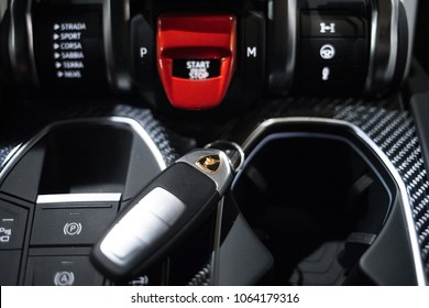 Riga, LV - APR 8, 2018: Lamborghini Urus interior and key