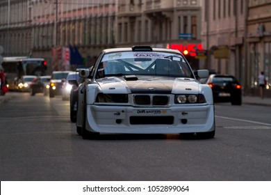 Riga, LV   AUG 1, 2014: BMW M3 E36 Drift Car On City