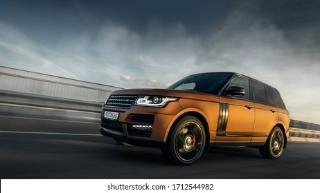 Riga, LV - AUG 11, 2017: Range Rover Sport in the motion at the bridge