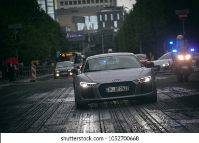 Riga, LV - AUG 15, 2016: Audi R8 supercars on Riga streets