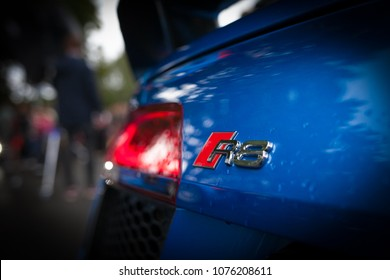 Riga, LV - AUG 15, 2016: Audi R8 logo at trunk