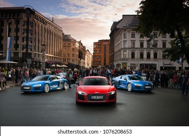 Riga, LV - AUG 15, 2016: Audi R8 in city centre
