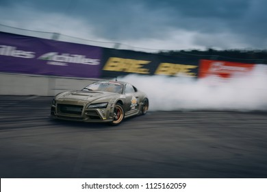 Riga, LV, Bikernieki Raceway - JUN 29, 2018: Drift Challenge Battle of Nations 2018 Toyota Supra drift Kitcar in motion