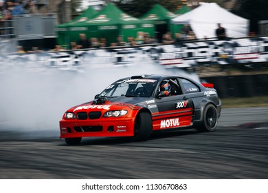 Riga, LV, Bikernieki Raceway - JUN 29, 2018: Drift Challenge Battle of Nations 2018 BMW M3 E46 HGK Kristaps Bluss in drift