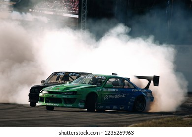 Riga, LV, Bikernieki Raceway - JUN 29, 2018: Drift Challenge Battle of Nations 2018 Nissan S15 Silvia falken tires James Dean in drift with smoke