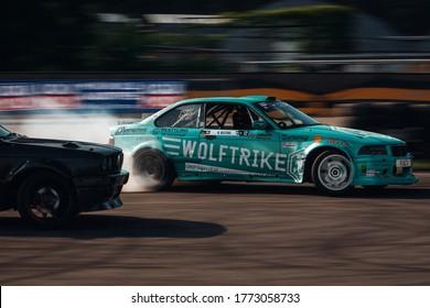 Riga, LV, Bikernieki Raceway - JUN 29, 2018: Drift Challenge Battle of Nations 2018 BMW M3 E36 Nikolas Bertans go fast in drift