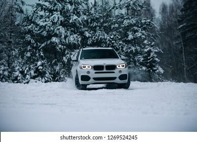 Riga, LV - DEC 22, 2018: BMW X5 F15 drift at the winter