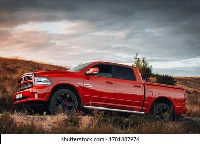 Riga, LV - JUL 16, 2020: Dodge Ram 1500 5.7 HEMI at the desert