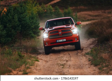 Riga, LV - JUL 16, 2020: Dodge Ram 1500 5.7 HEMI at the desert