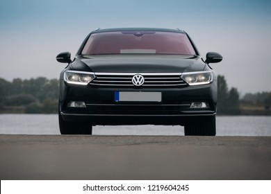 Riga, LV - JUL 2, 2018: Volkswagen Passat Variant B8 2017 near river front view