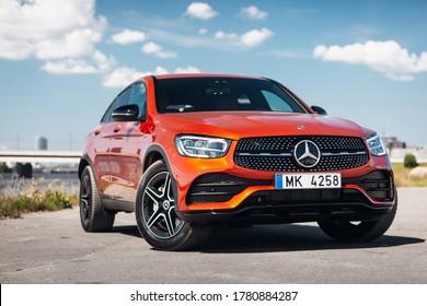 Riga, LV - JUL 20, 2020: Mercedes- Benz GLA 2020 AMG at the parking near river