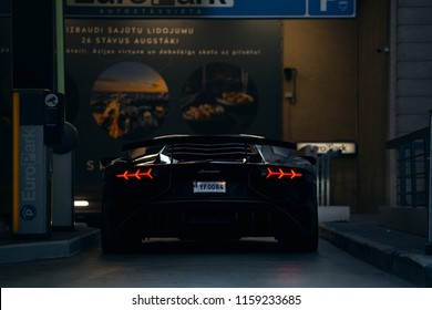 Riga, LV - JUL 28, 2018: Lamborghini Aventador LP 750-4 SuperVeloce on the underground parking