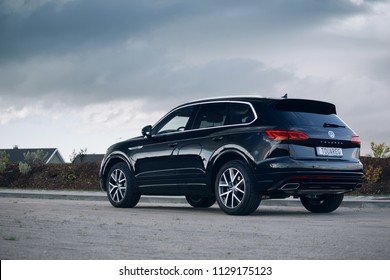 Riga, LV - JUL 5, 2018: New Volkswagen Touareg R- Line Highline 2018 on road