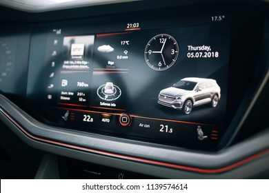 Riga, LV - JUL 5, 2018: New Volkswagen Touareg R- Line Highline 2018 multimedia screen
