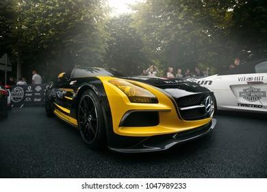 Riga, LV - JULY 2, 2017: Gumball 3000 Riga to Mykonos Mercedes- Benz SLS AMG