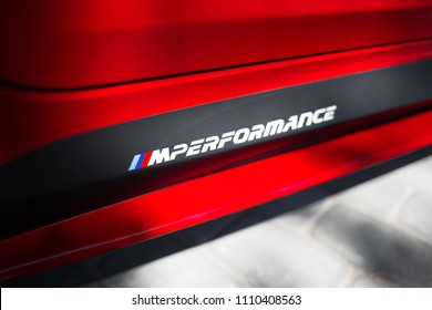 Riga, LV - JUN 10, 2018:  BMW M Performance logo on BMW M5 G10 side skirt