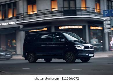 Riga, LV - JUN 15, 2018: New Volkswagen Multivan Executive in motion