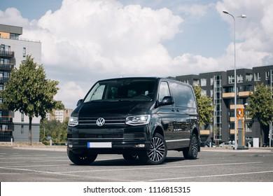 Riga, LV - JUN 15, 2018: New Volkswagen Multivan 2018 Executive on parking of modern district