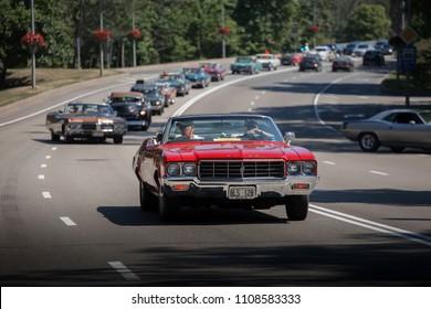 Riga, LV - JUN 3, 2018: 1970 Buick Skylark on parade