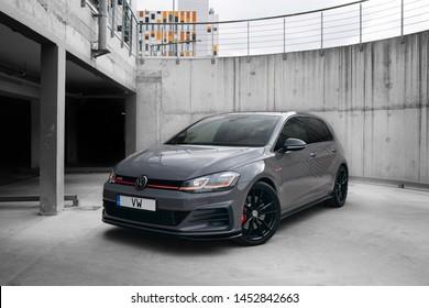 Riga, LV - JUN 3, 2019:  Volkswagen Golf GTi TCR at the underground parking lot